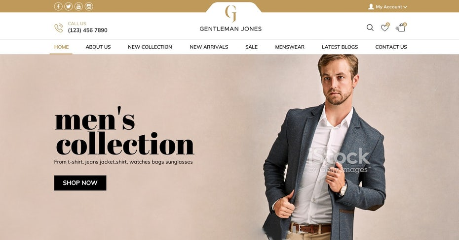 modern web design for a men's fashion web shop