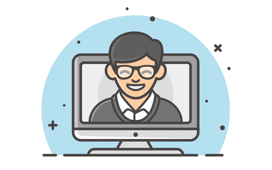 Illustrated icon of smiling person on computer screen