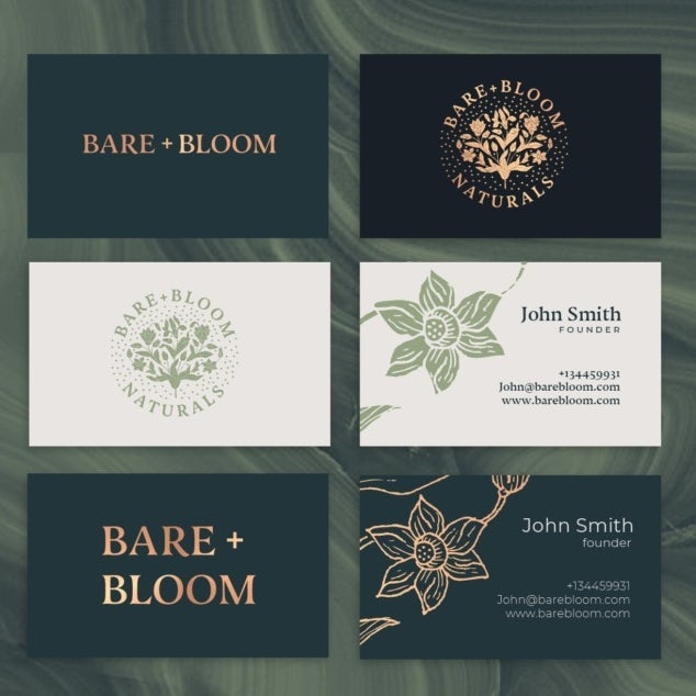 black, gold, green and cream brand identity for a cosmetics company