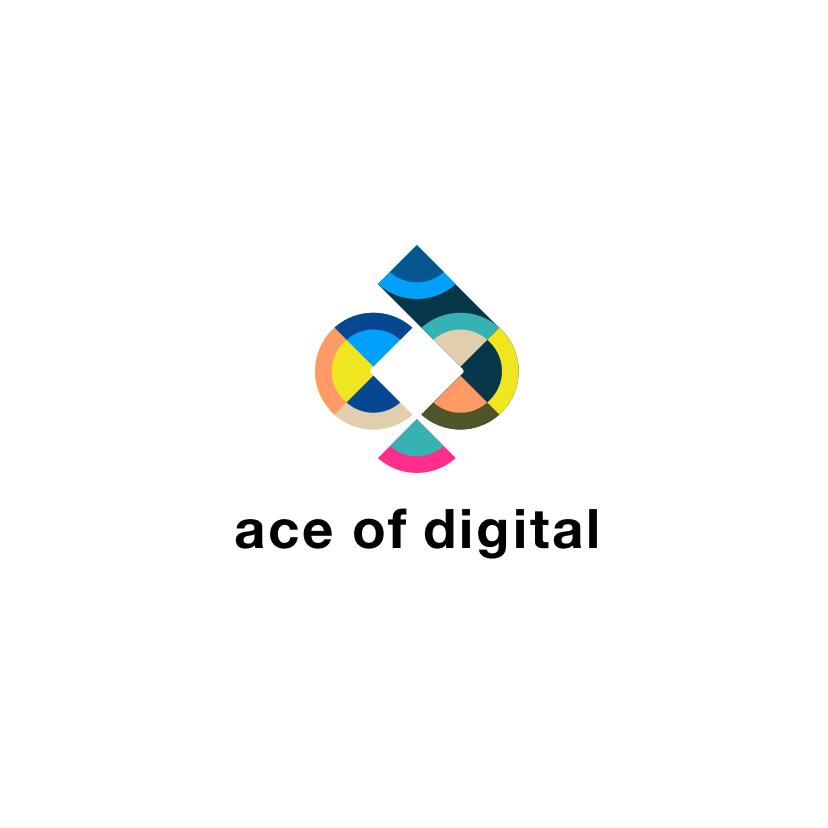 Multi colored abstract pattern digital marketing logo