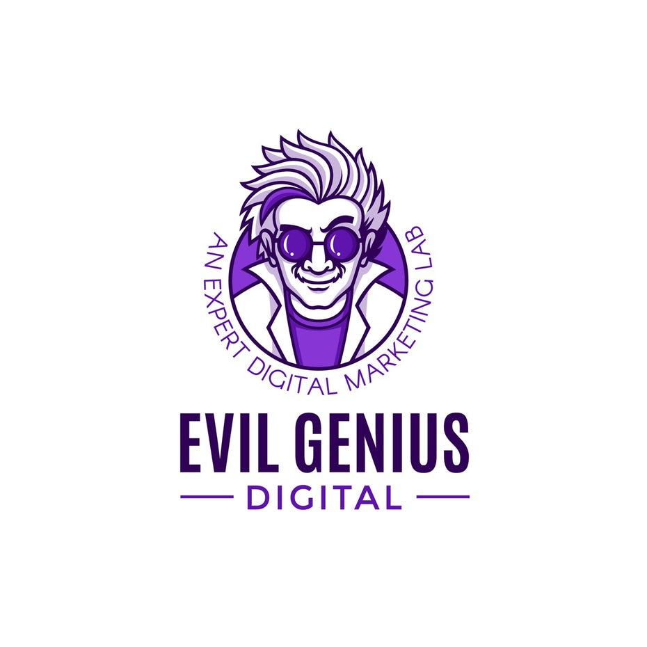 Digital marketing logo with a cartoon quirky mad scientist mascot