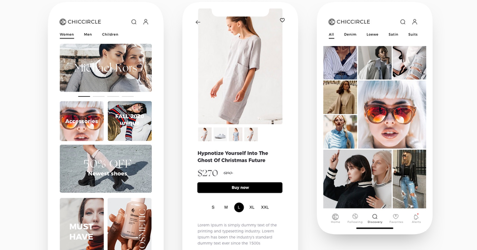 modern app design for a women's fashion web shop