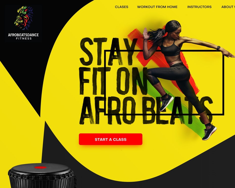 Yellow, red, green web page design for a fitness brand