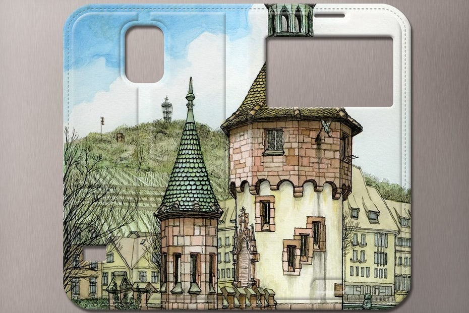merchandise branding with phone case with an image of a brick building and a hill