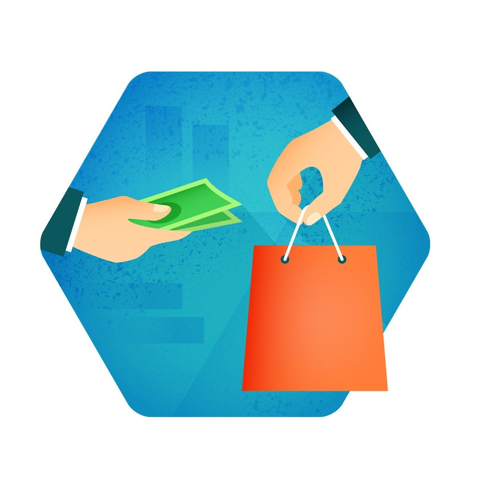 illustration of exchange of shopping bag for money