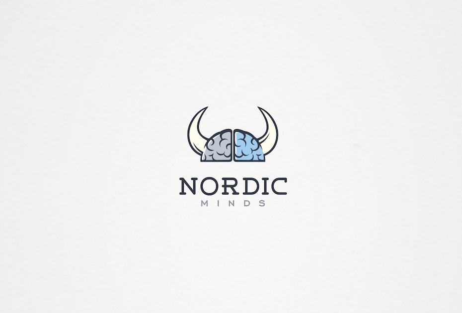 Blue illustrative digital marketing logo with viking imagery