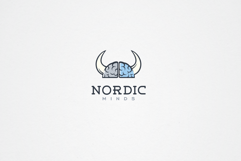 Blue illustrative digital marketing logo with viking imagery