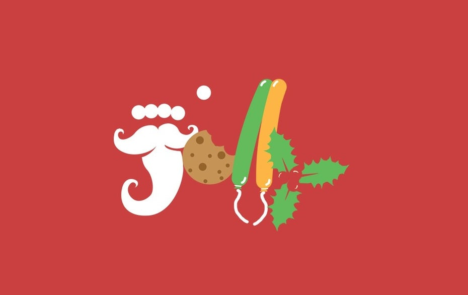 "the word ""jolly"" created with letters that look like various objects: Santa's beard, balloons, cookies and holly"