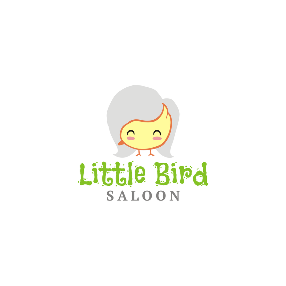 yellow bird logo with a gray hair background that turns it into a face