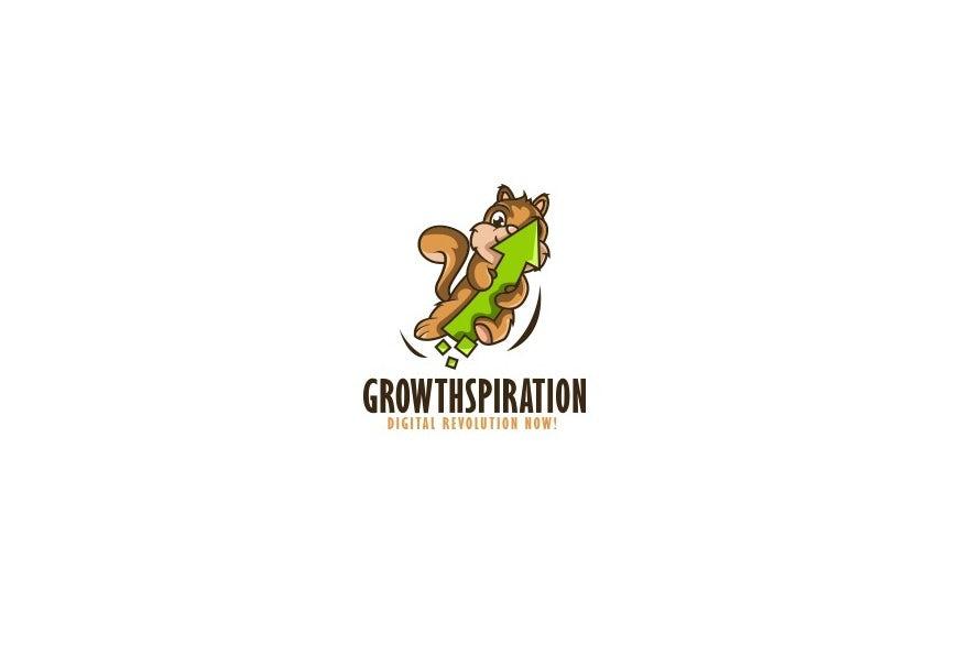 Cartoon squirrel mascot digital marketing logo