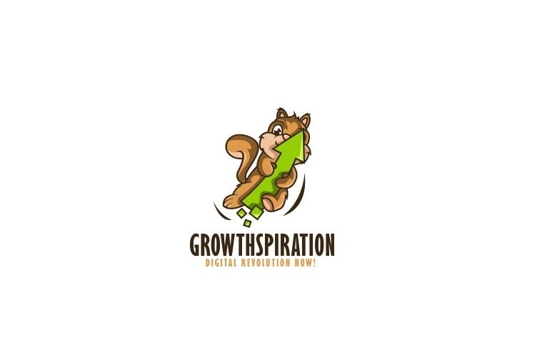 Cartoon squirrel mascot digital marketing logo