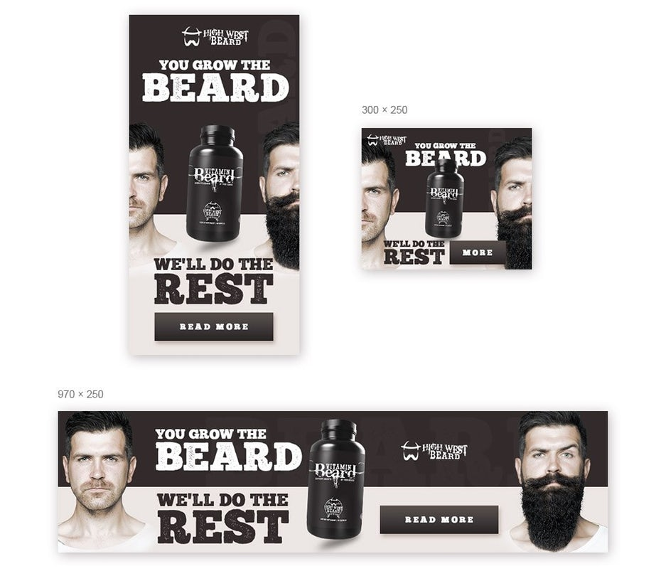 cool monochrome banner ad design for beard product
