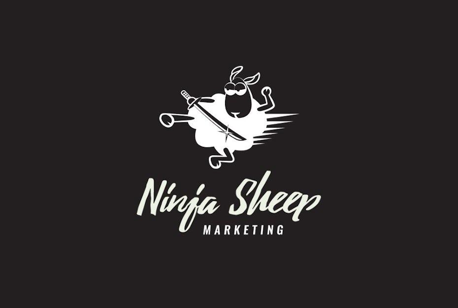Digital marketing logo with a cartoon quirky mascot ninja sheep