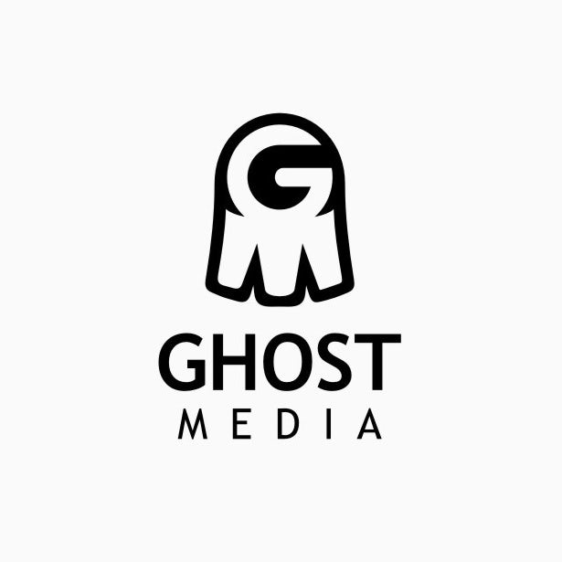 Digital marketing logo with quirky ghost icon