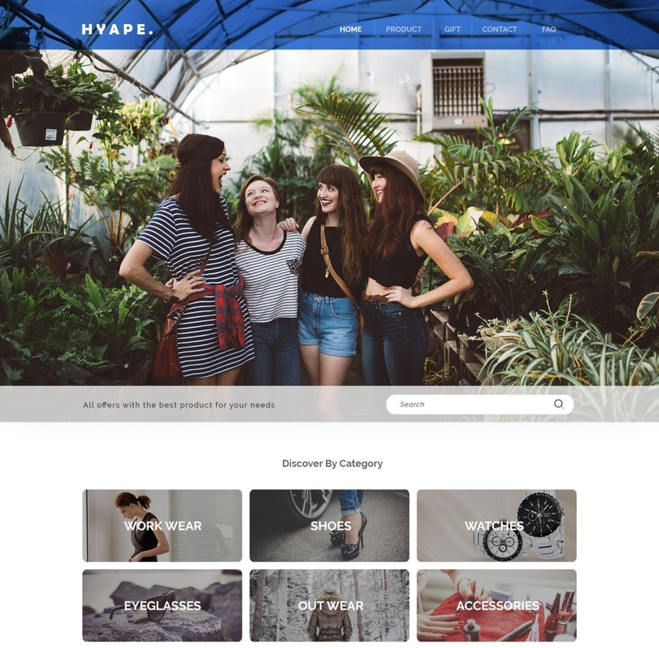 photo-heavy ecommerce website with a blue header