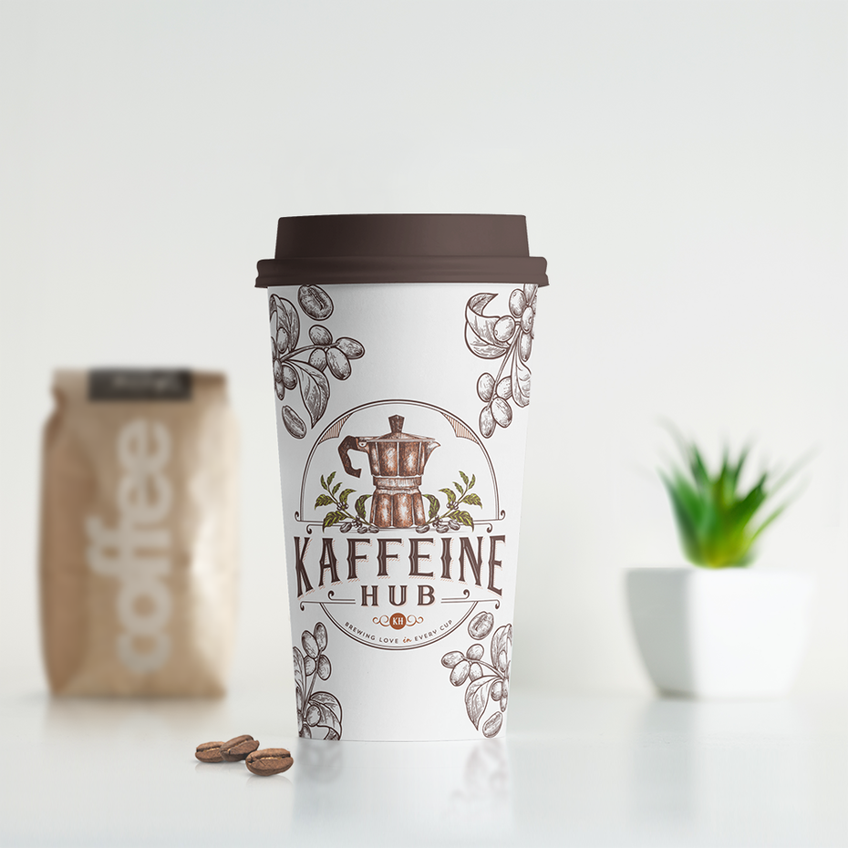 merchandise branding with disposable coffee mug with a vintage-inspired logo