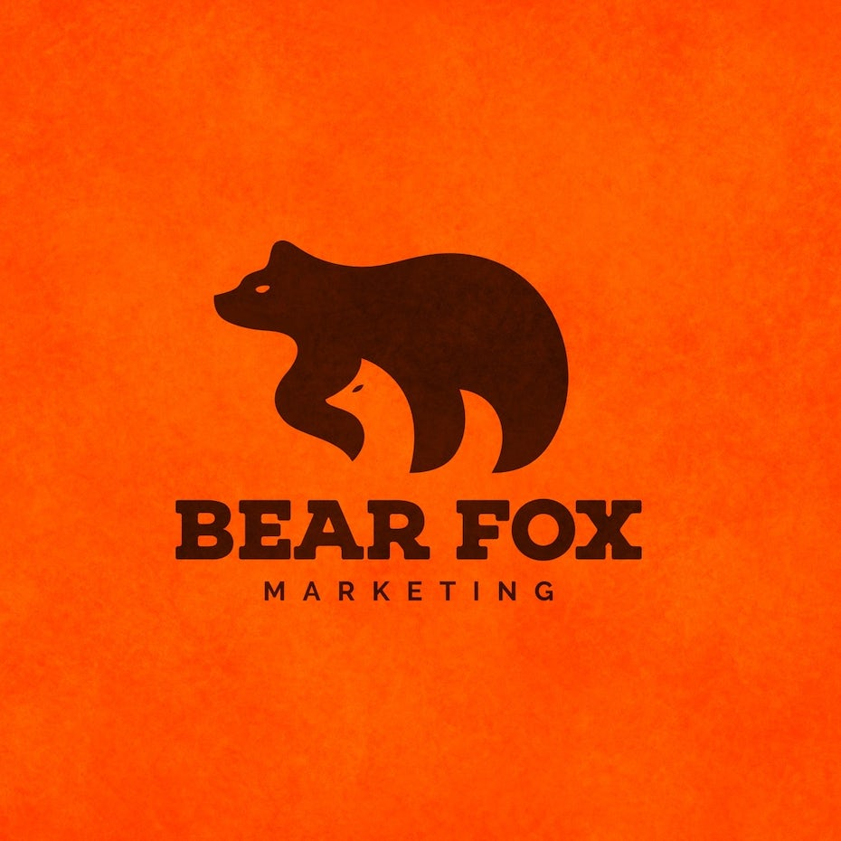 Orange bear and fox mascot digital marketing logo