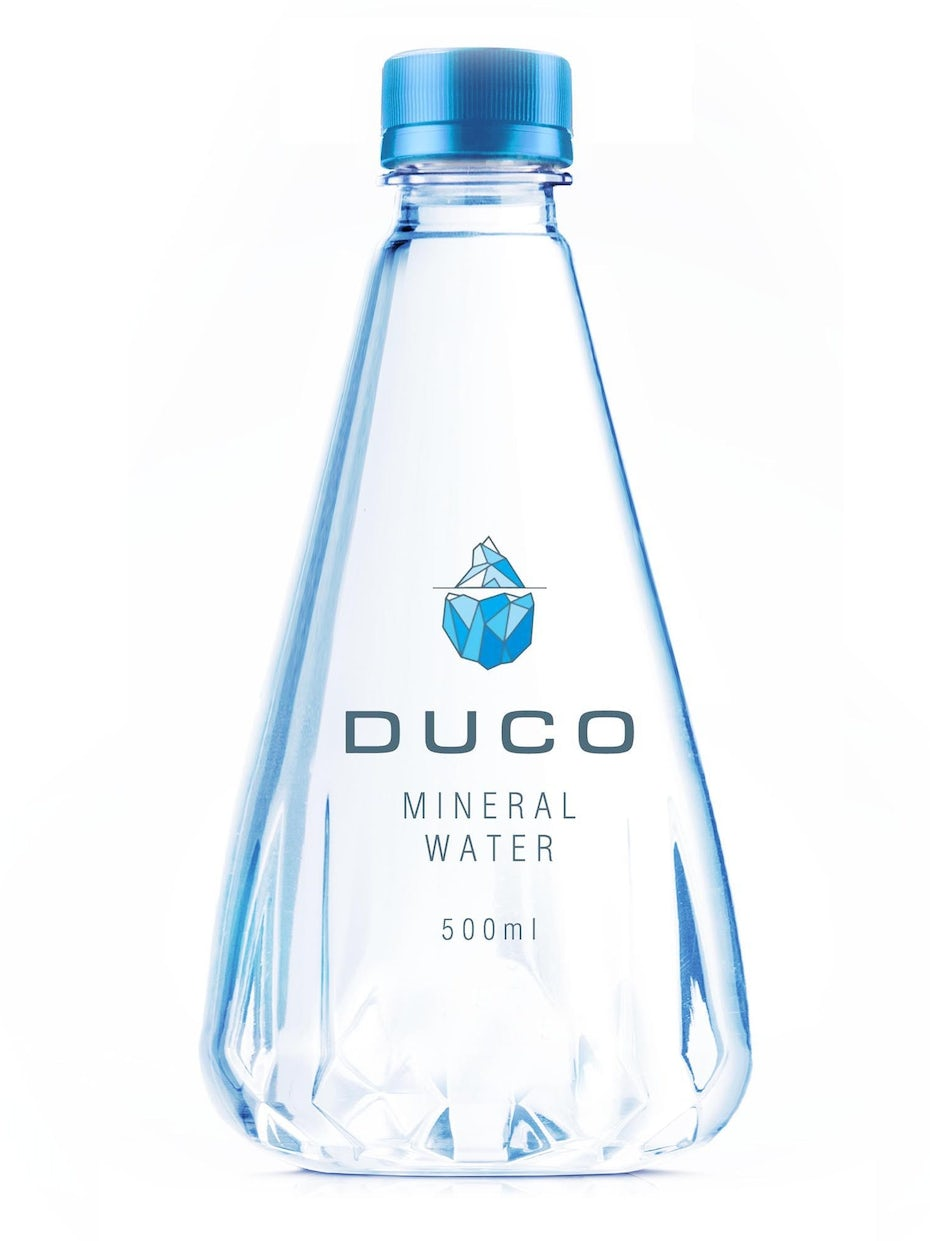 merchandise branding with triangular water bottle with an iceberg on it