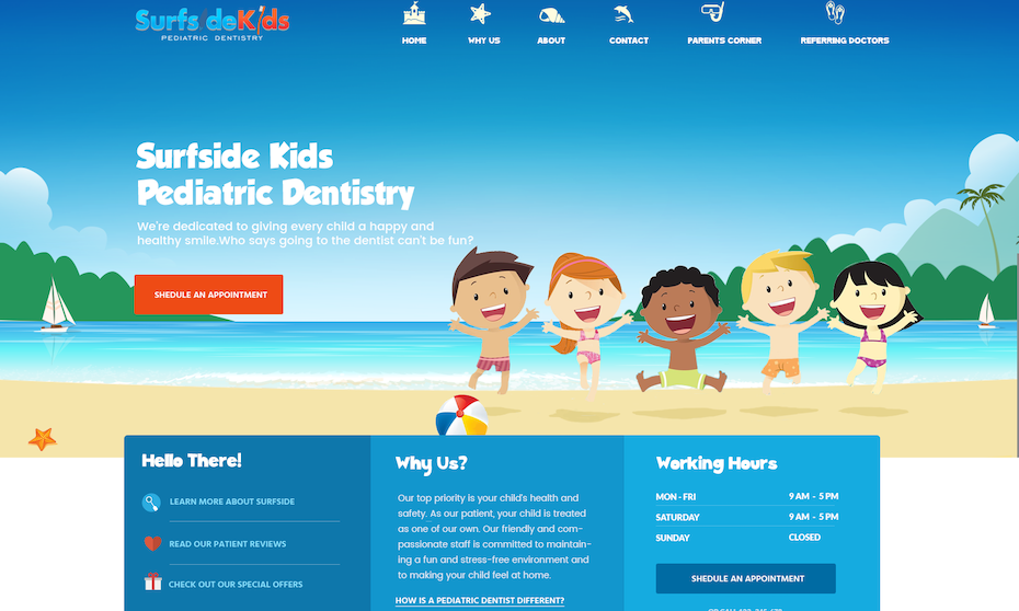 Surfside Kids Pediatric Dentistry website