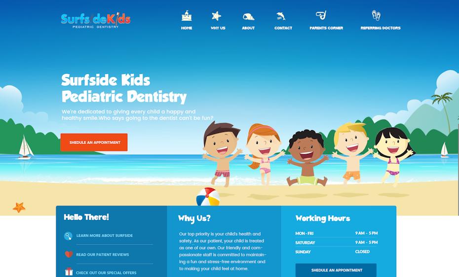 Surfside Kids Pediatric Dentistry website