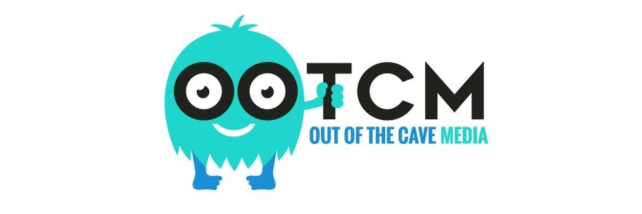 Bright blue digital marketing logo with a cartoon monster quirky mascot