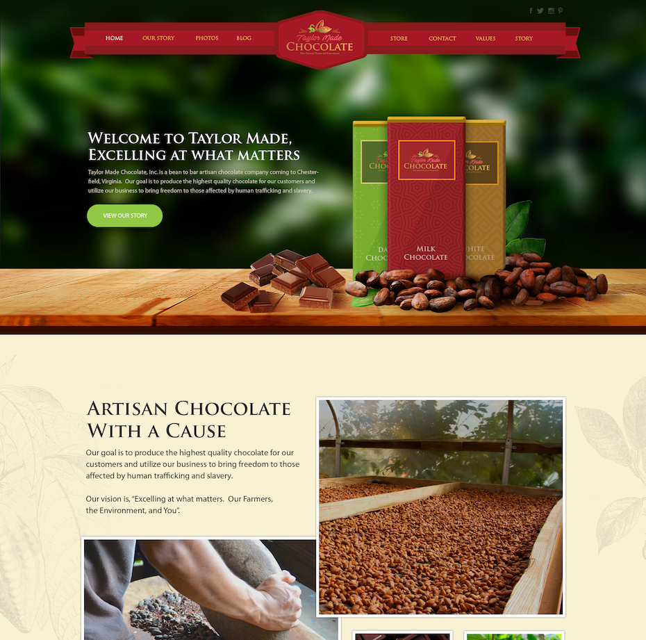 red, green, yellow and tan chocolate ecommerce website