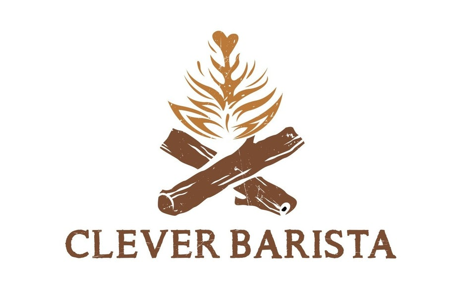 logo showing logs and a stylized flame reminiscent of latte foam art