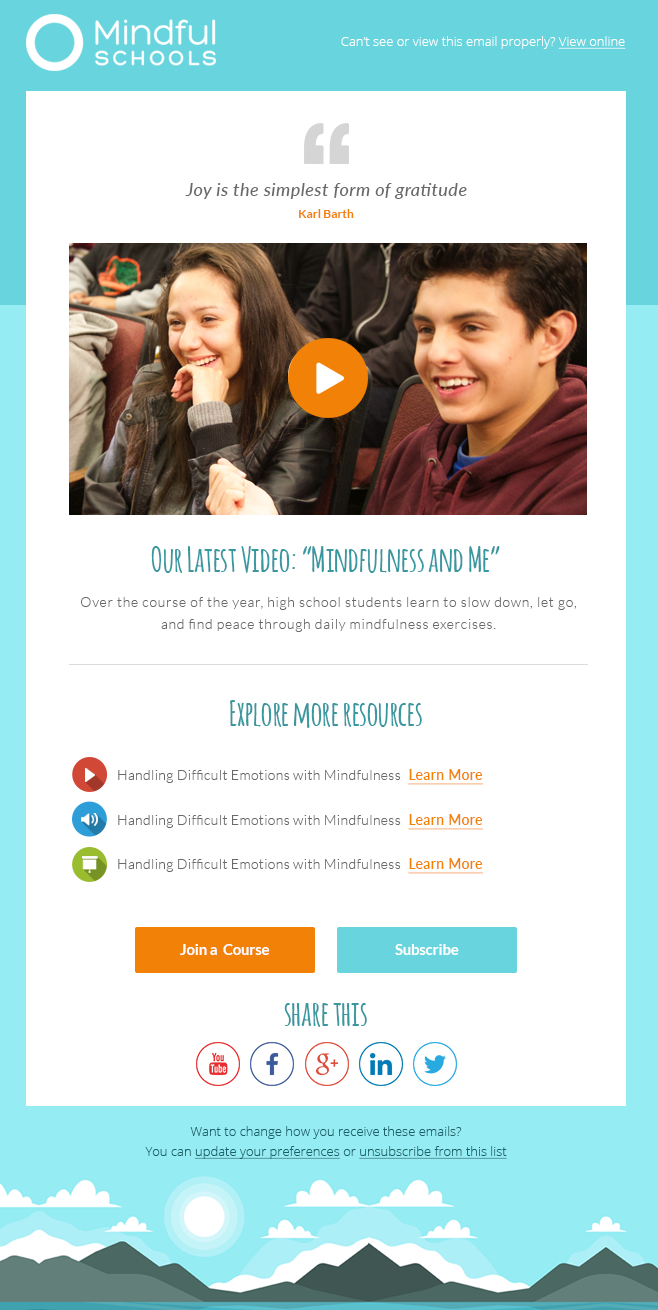 email design for Mindful Schools