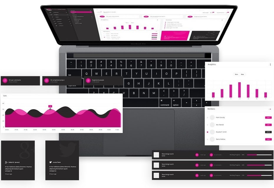 example of digital design: App design showing magenta-colored charts and graphs displayed on a computer