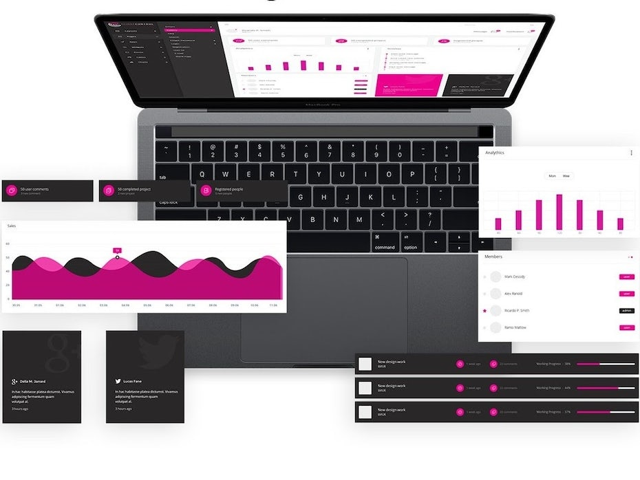 App design showing magenta-colored charts and graphs displayed on a computer