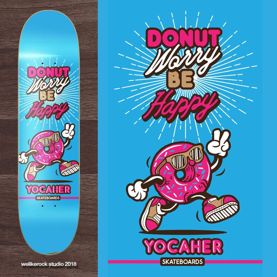 merchandise branding with blue skateboard deck with a pink anthropomorphized donut