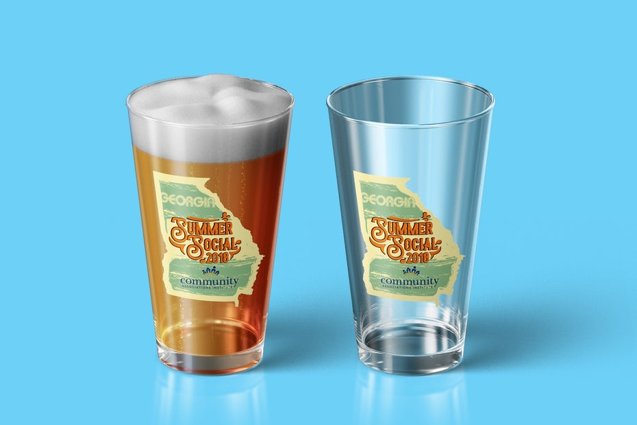 merchandise branding with beer glass with a logo for a craft beer event