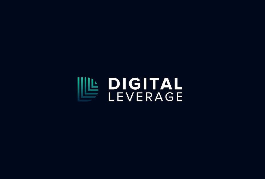 Blue and green gradient tech-themed digital marketing logo