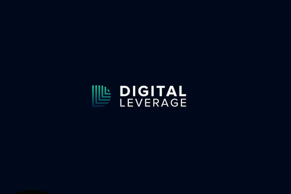 Blue and green gradient tech-themed digital marketing logo