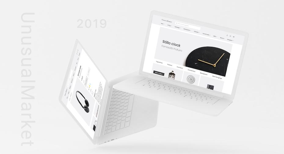 Minimalist black and white web page design