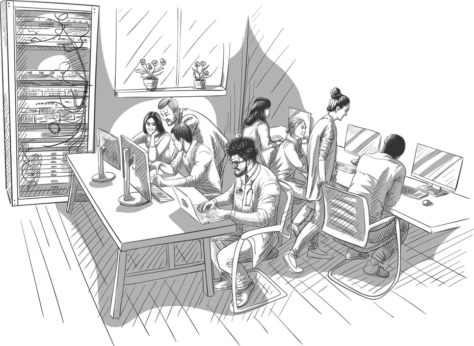 A black-and-white hand-sketched illustration of various people working at computers