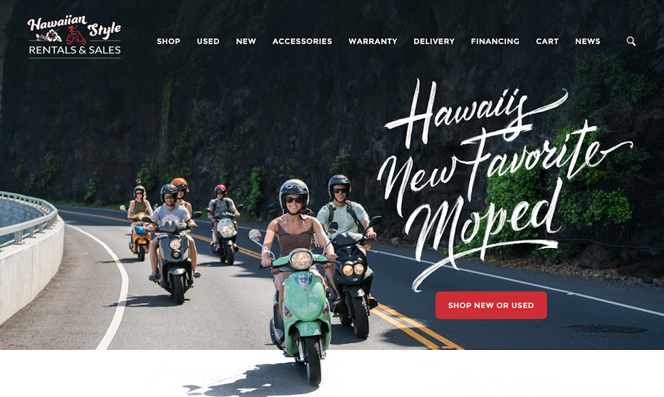 A web page design for a scooter company