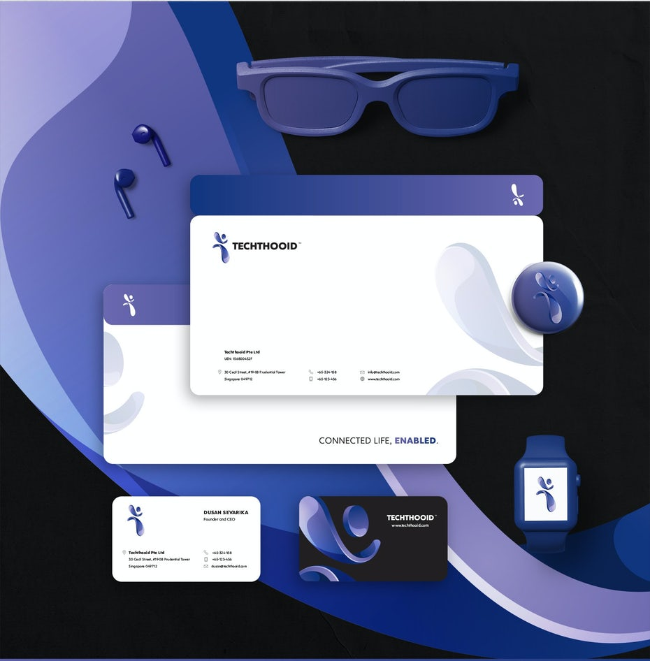 purple and white branding for a tech company