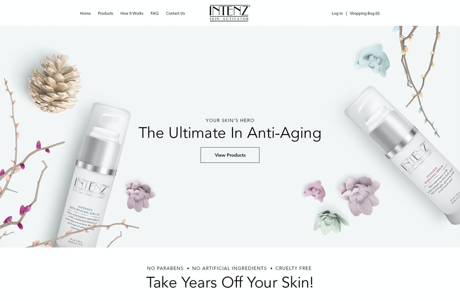 pink and white skincare website