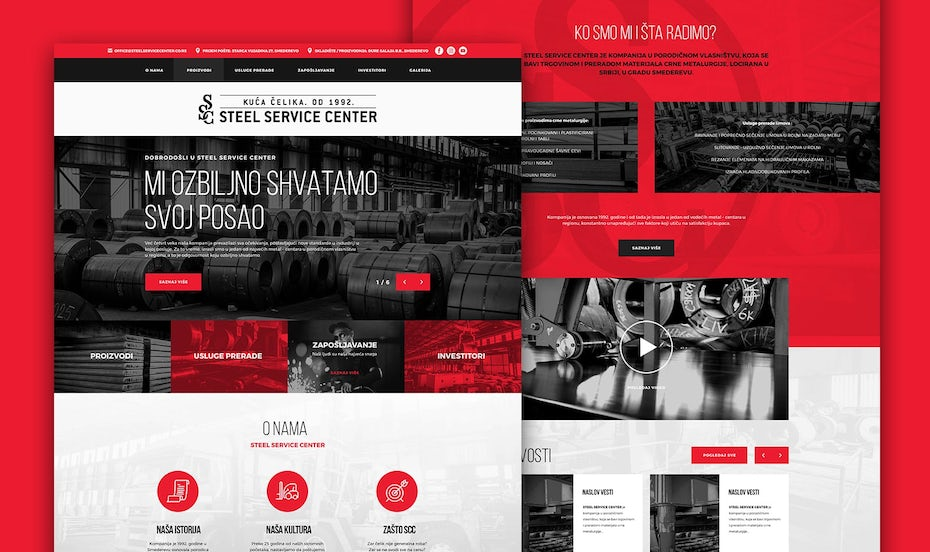 Red and black web page design