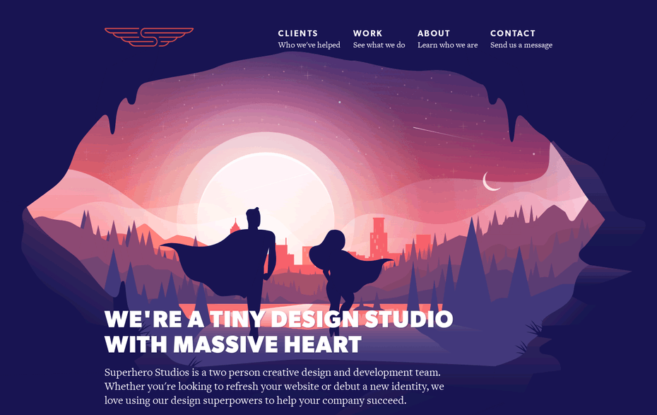 Superhero Studios website illustration