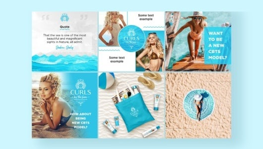 A blue themed Instagram page layout design
