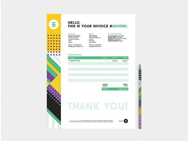 white invoice design with a colorful left-side border