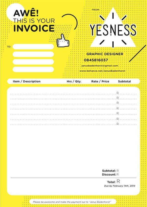 bold, busy yellow and white invoice design