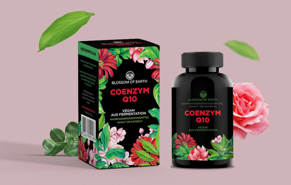 primarily black product packaging with colorful flowers and text