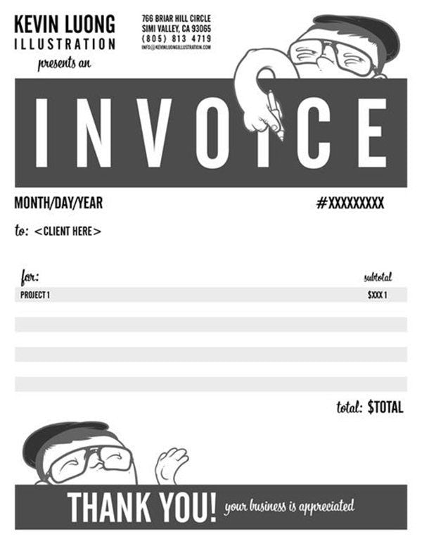 black and white invoice design with a boy mascot