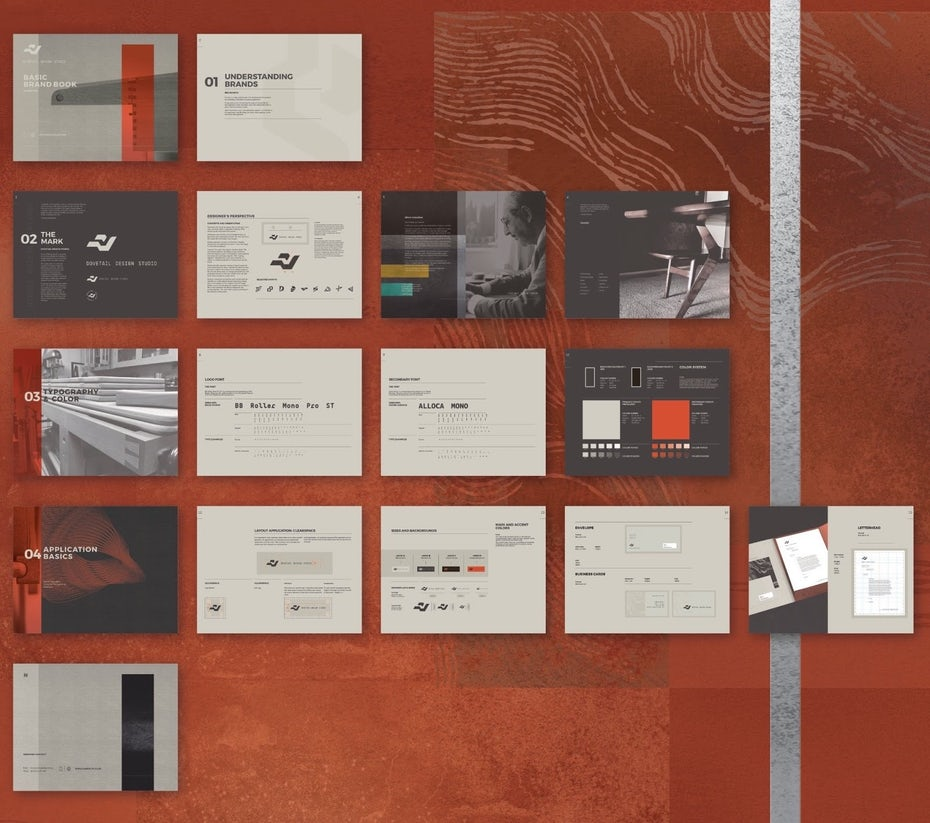 Brand book guide design layout on an orange background