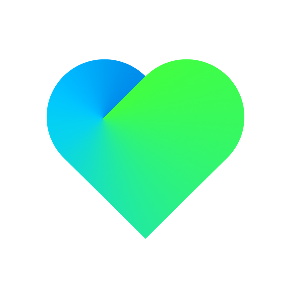 heart shape in a green and blue gradient