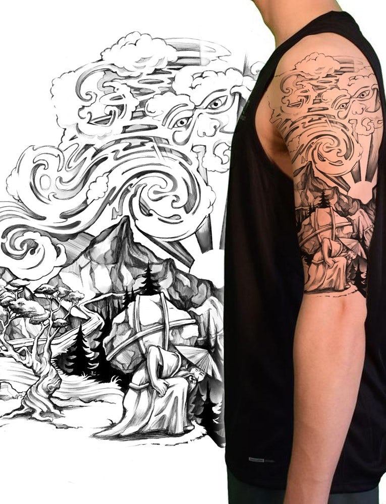 tattoo design that illustrates story of man who removed mountains