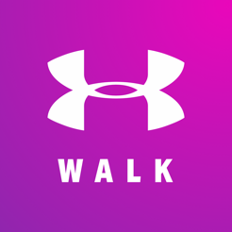 white Under Armour logo against a pink and purple gradient background